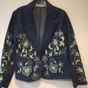 Dress Barn Embellished Blue Denim Jacket Size M